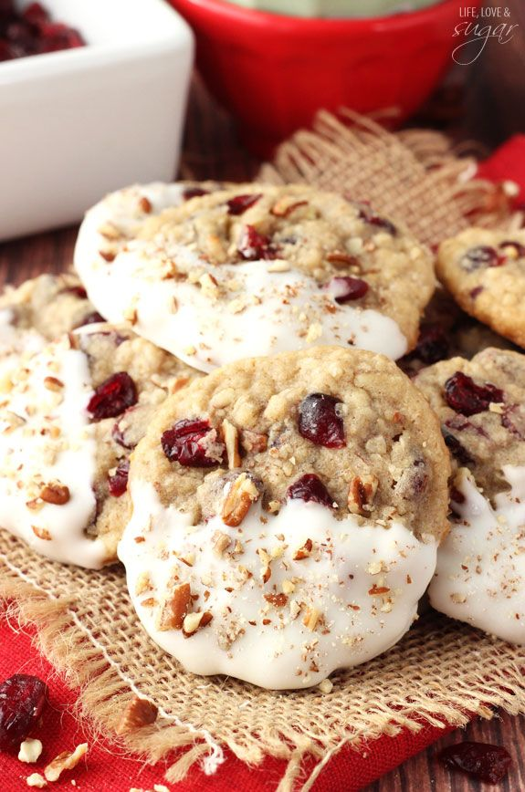 White Chocolate Dipped Cranberry Pecan Oatmeal Cookies | Faith, Hope, Love, and Luck Survive Despite a Whiskered Accomplice