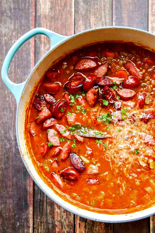 Lentil Soup Recipe with Parmesan and Smoked Sausage | Faith, Hope, Love, and Luck Survive Despite a Whiskered Accomplice