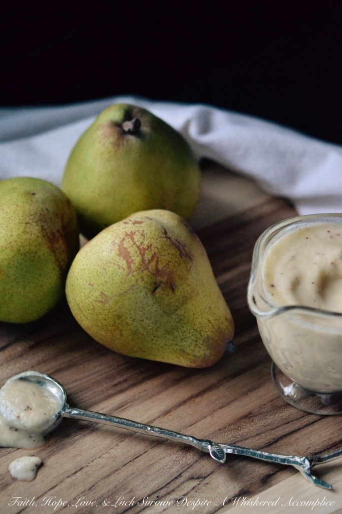 Creamy Pear Vinaigrette | Faith, Hope, Love, and Luck Survive Despite a Whiskered Accomplice