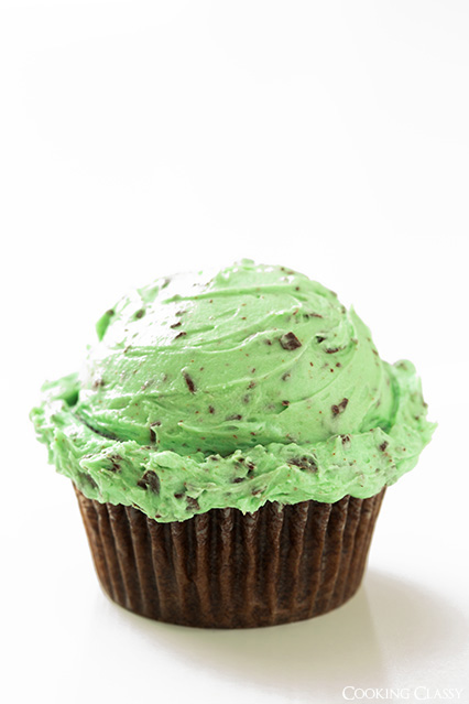 Chocolate Cupcakes with Fluffly Mint Chocolate Chip Buttercream Frosting | Faith, Hope, Love, and Luck Survive Despite a Whiskered Accomplice