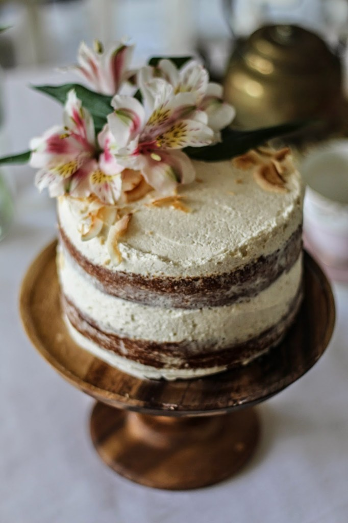 Hummingbird Cake with Cinnamon and Honey Cream Cheese Frosting | Faith, Hope, Love, and Luck Survive Despite a Whiskered Accomplice