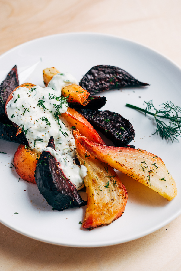Roasted Beet Wedges with Herbed Green Onion Tzatziki | Faith, Hope, Love, and Luck Survive Despite a Whiskered Accomplice