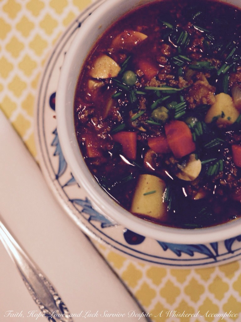 Crockpot Guinness Burger Stew | Faith, Hope, Love, and Luck Survive Despite a Whiskered Accomplice