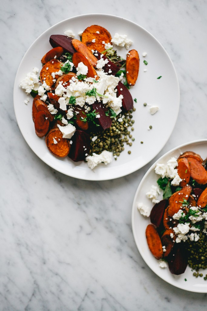 Roasted Vegetables and Lentil Salad | Faith, Hope, Love, and Luck Survive Despite a Whiskered Accomplice