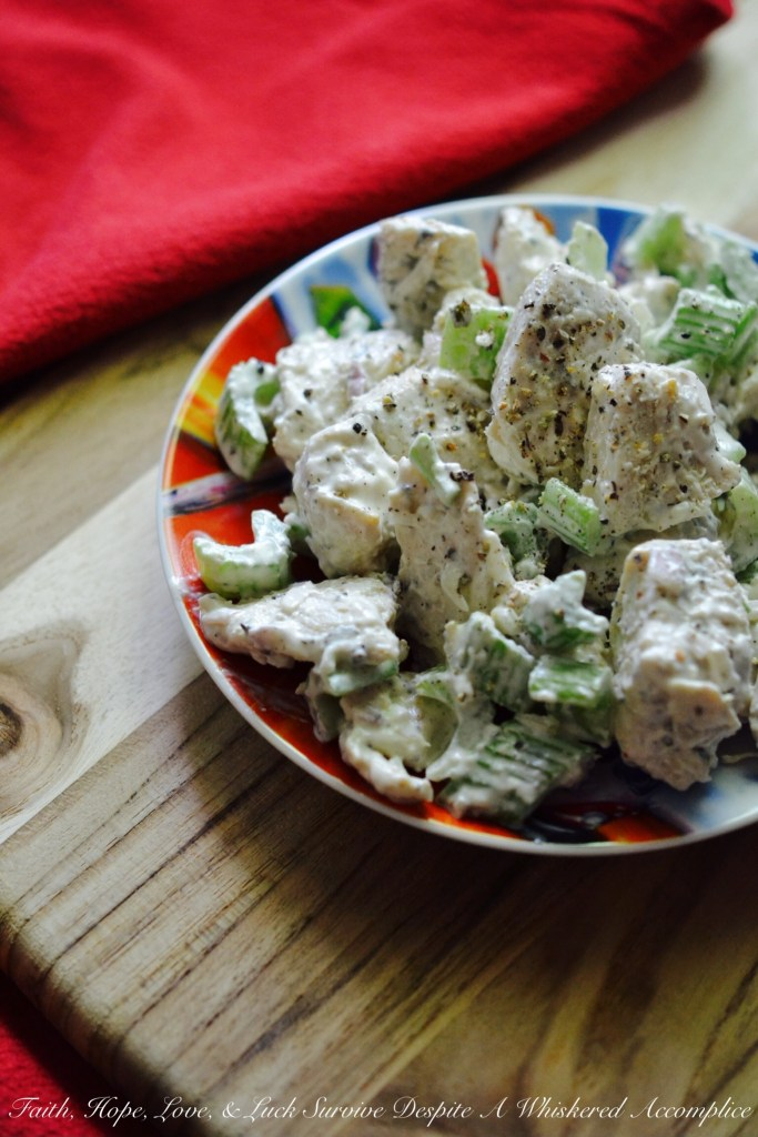 Chunky Marinated Chicken Salad | Faith, Hope, Love, and Luck Survive Despite a Whiskered Accomplice