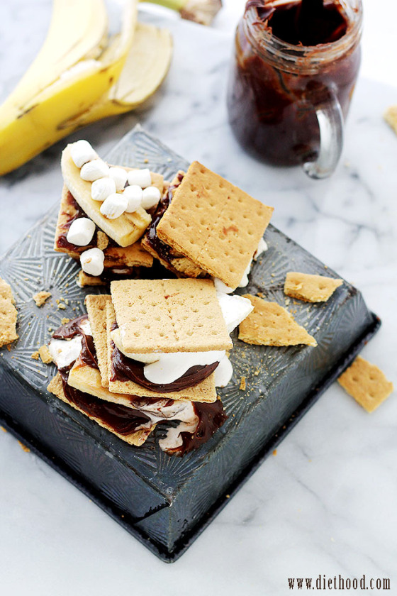 Chocolate Peanut Butter Banana S'mores | Faith, Hope, Love, and Luck Survive Despite a Whiskered Accomplice