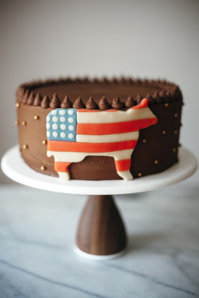 Buttermilk Chocolate Cake with Peach Filling and a Marzipan Cow | Faith, Hope, Love, and Luck Survive Despite a Whiskered Accomplice