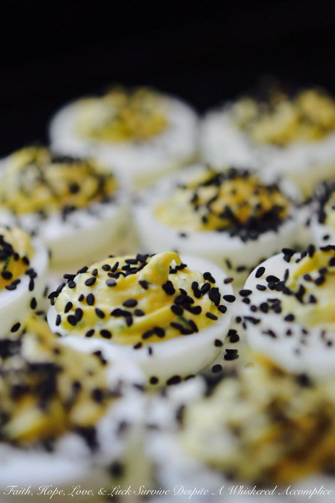 Horseradish and Black Sesame Seed Deviled Eggs | Faith, Hope, Love, and Luck Survive Despite a Whiskered Accomplice