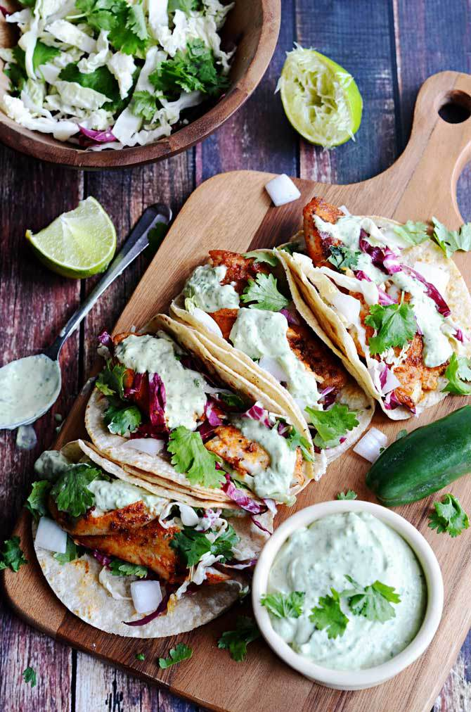 Blackened Fish Tacos with Avocado-Cilantro Sauce | Faith, Hope, Love, and Luck Survive Despite a Whiskered Accomplice