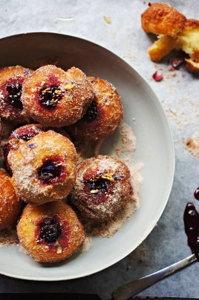 Buttermilk Doughnuts with Spiced Mulberry Jam and Chai Sugar | Faith, Hope, Love, and Luck Survive Despite a Whiskered Accomplice