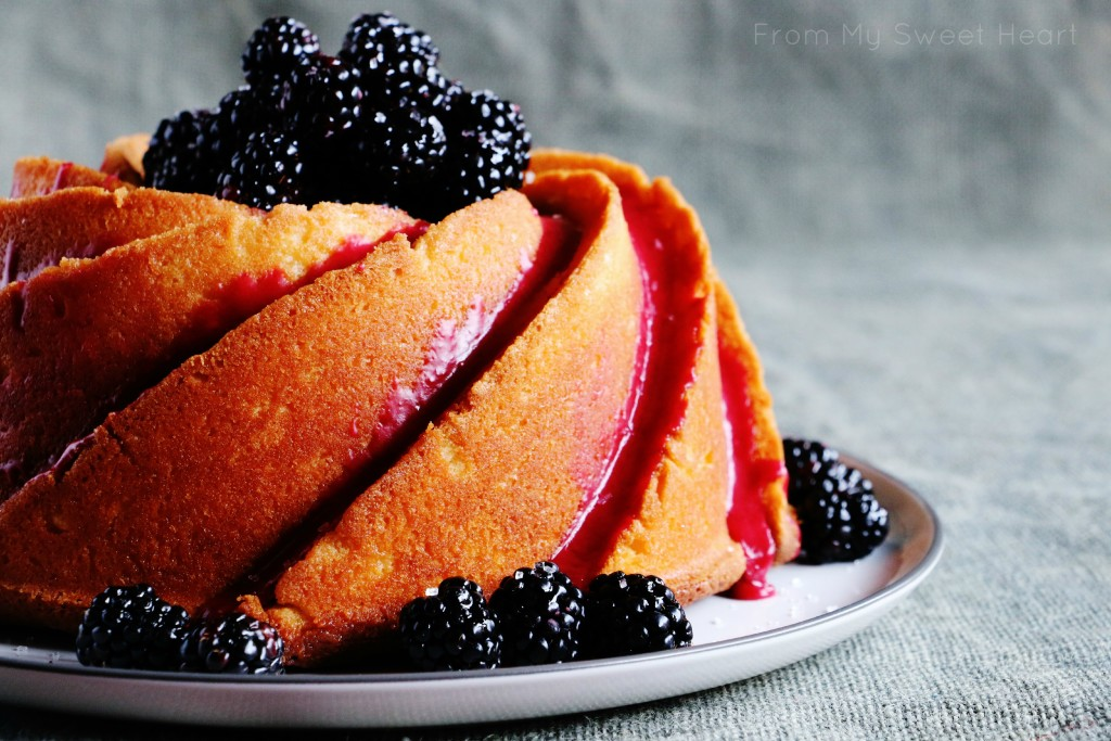 Sweet Lemon Bundt with Blackberry Glaze | Faith, Hope, Love, and Luck Survive Despite a Whiskered Accomplice
