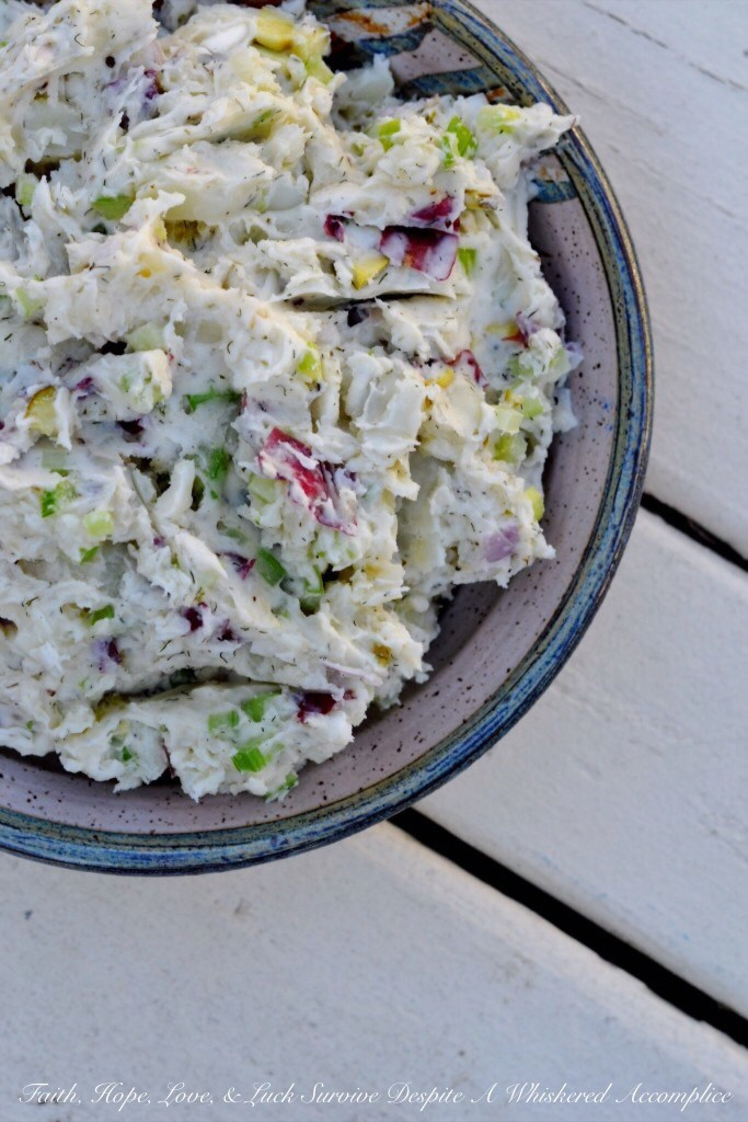 Dill Mashed Potato Salad | Faith, Hope, Love, and Luck Survive Despite a Whiskered Accomplice