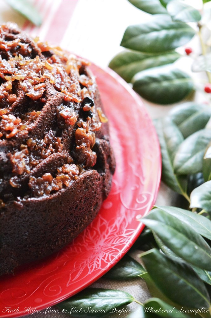 Super Naughty Chocolate Whiskey Bacon Jam Bundt Cake - #BundtBakers | Faith, Hope, Love, and Luck Survive Despite a Whiskered Accomplice