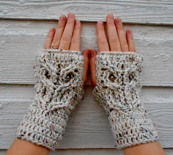 Owl Fingerless Mitts | Faith, Hope, Love, and Luck Survive Despite a Whiskered Accomplice