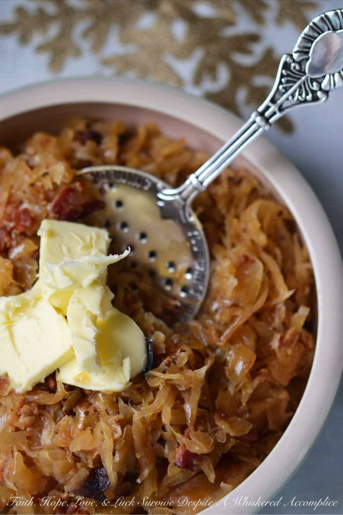 Crock-Pot Candied Bacon Sauerkraut | Faith, Hope, Love, and Luck Survive Despite a Whiskered Accomplice