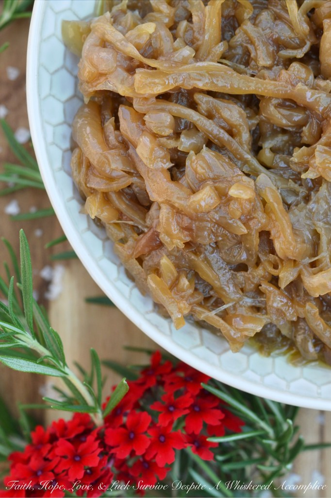 Crockpot Caramelized Onions | Faith, Hope, Love, and Luck Survive Despite a Whiskered Accomplice
