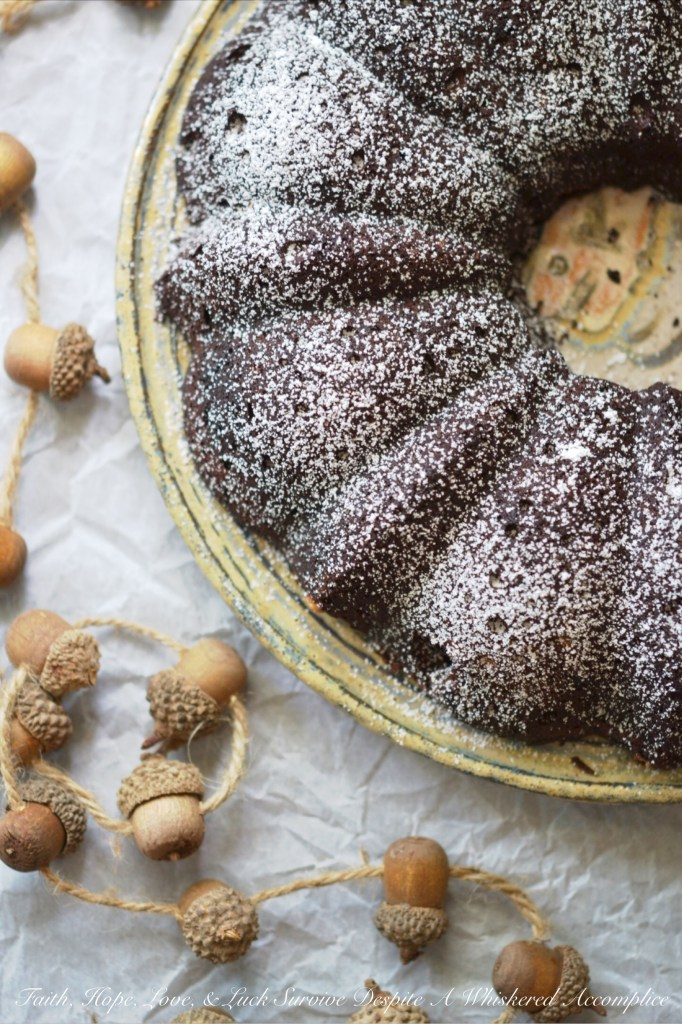 Flourless Chocolate Bundt Cake | Faith, Hope, Love, and Luck Survive Despite a Whiskered Accomplice