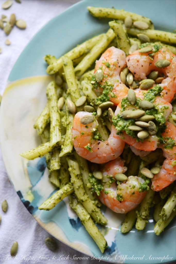 Pepita Pesto-Coated Pasta with Shrimp | Faith, Hope, Love, and Luck Survive Despite a Whiskered Accomplice