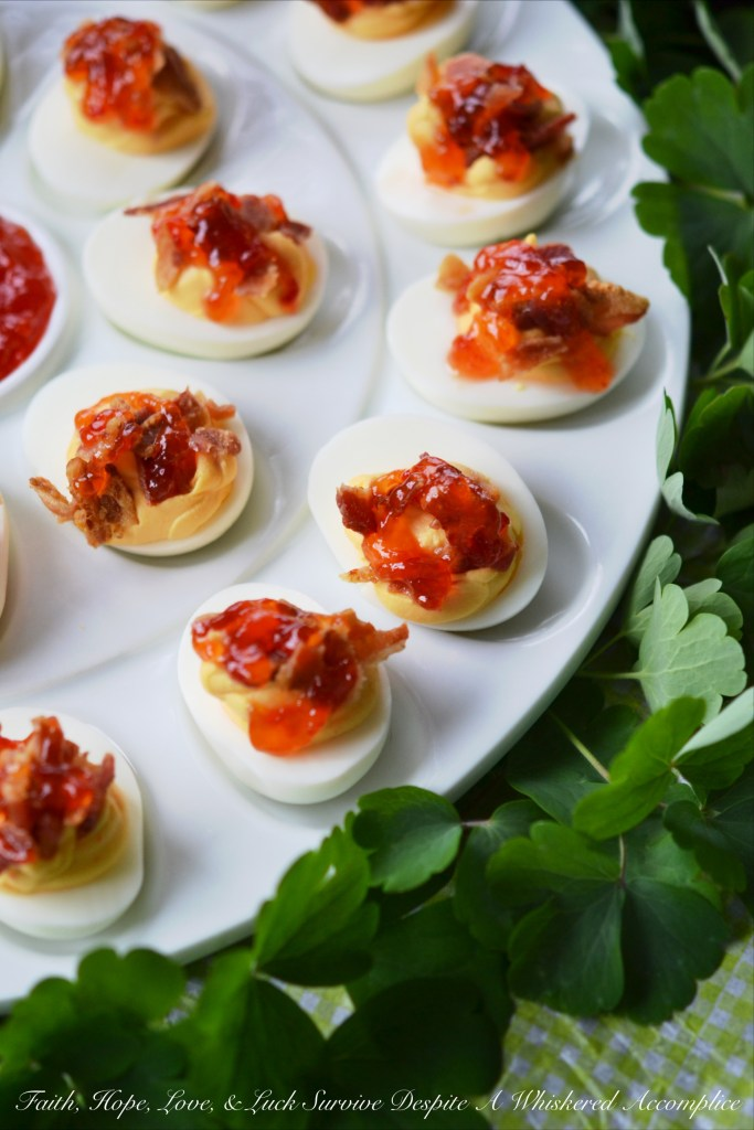 Southern Red Pepper Jelly Deviled Eggs | Faith, Hope, Love, and Luck Survive Despite a Whiskered Accomplice