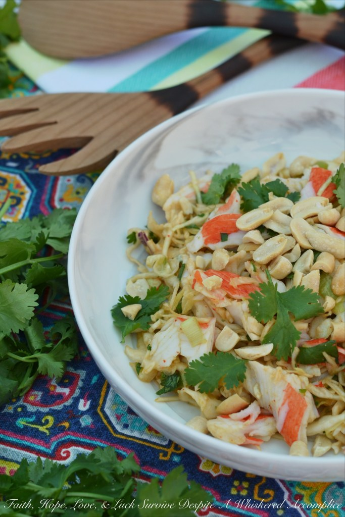 Imitation crab meat is turned into something truly spectacular with the addition of store-bought slaw and a few simple Thai ingredients.