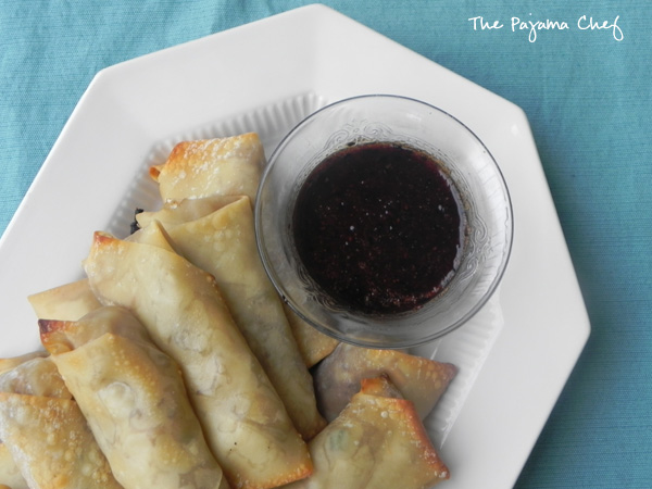 Baked Blueberry Pork Egg Rolls - The Pajama Chef