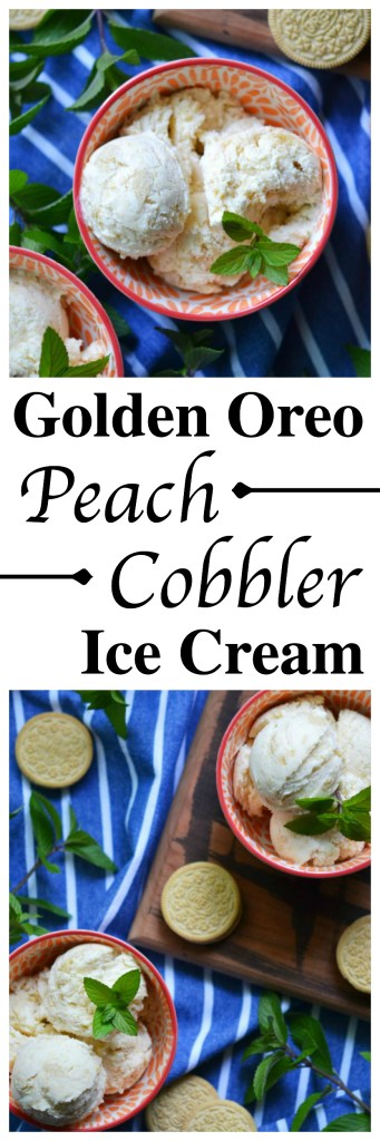 Golden Oreo cookies and fresh peaches give this sweet summer ice cream a unique flavor that mimics the taste of comforting southern peach cobbler.
