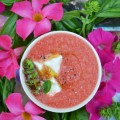 Fresh garden basil, sweet watermelon, feta, and a touch of olive oil make this super refreshing cold soup a great addition to any hot summer day.