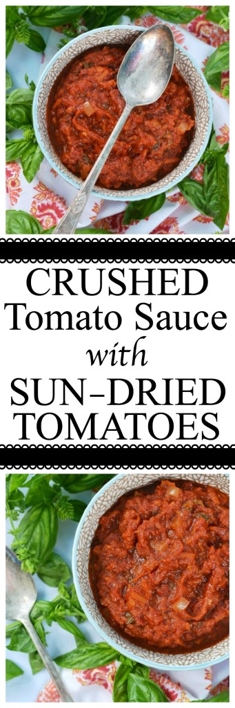 Canned crushed tomatoes, fresh basil, and sun-dried tomatoes help make this homemade tomato sauce taste like it almost came straight out of the garden.