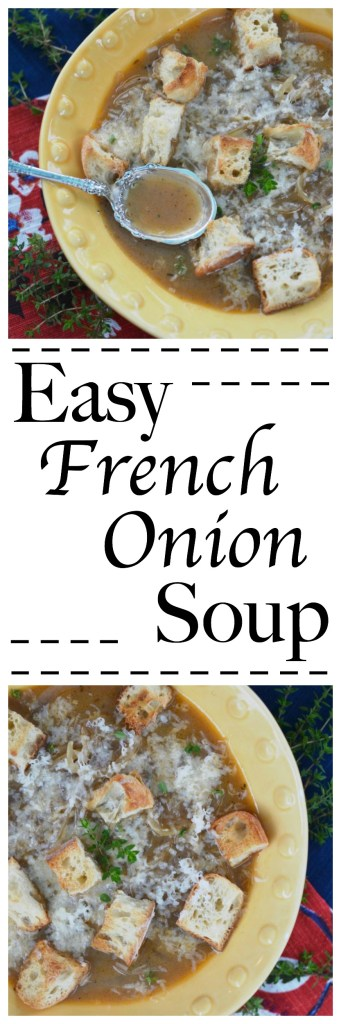 An easy French onion soup, which is similar to Panera Bread's. This version calls for the use of a crockpot to caramelize the onions as a way to save time.