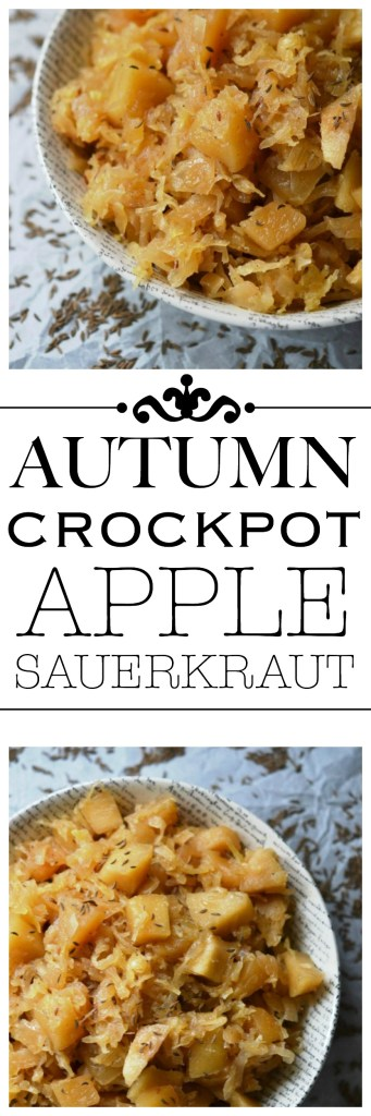 Give your crockpot sauerkraut the taste of autumn with the addition of seasonal apples, brown sugar, Oktoberfest beer, diced onion, and caraway seeds.