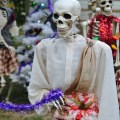 """A look at The Historic Herndon Halloween House (Herndon, VA) 2017 """"The Nightmare Before Christmas"""" themed Scottish Skeleton Clan Army."""