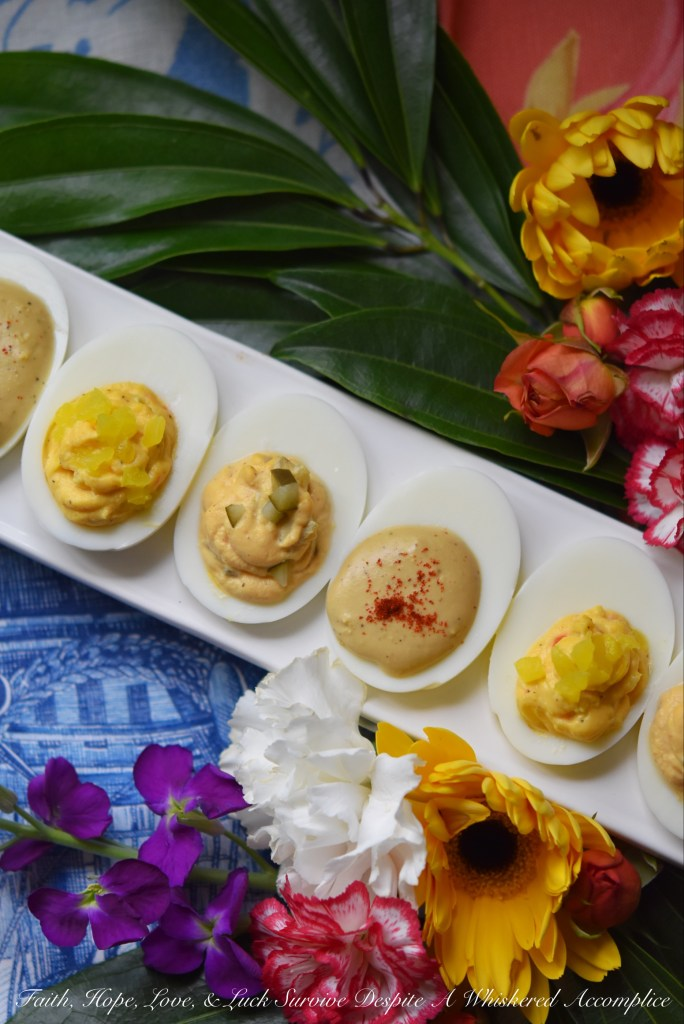Turn ordinary deviled eggs into something delightfully delicious using the condiments and garnishes you have on hand in your refrigerator, pantry, or spice cabinet. These Thousand Island, Worcestershire, and Mild Pepper Ring Deviled Eggs are just three examples of what you can create with everyday ingredients.