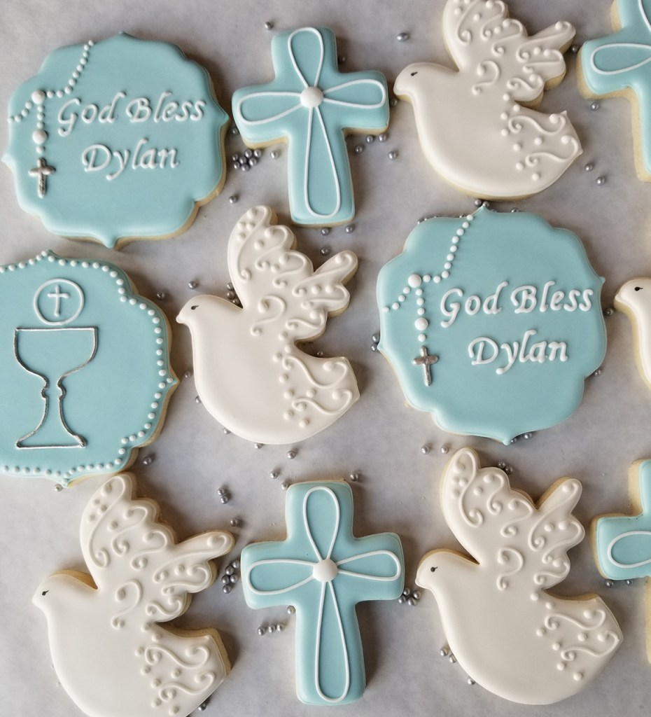Baby Blue Baptism or Christening Sugar Cookie