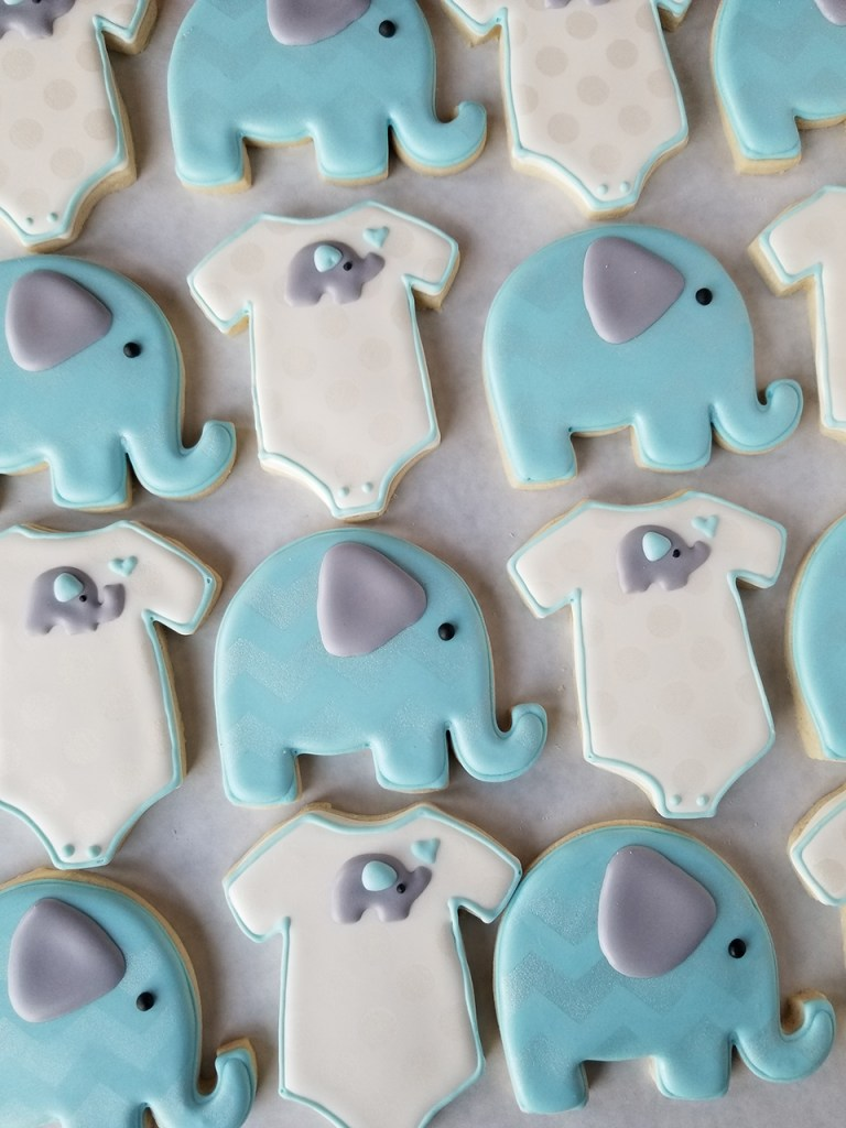 Blue and purple baby shower elephant theme decorated sugar cookie