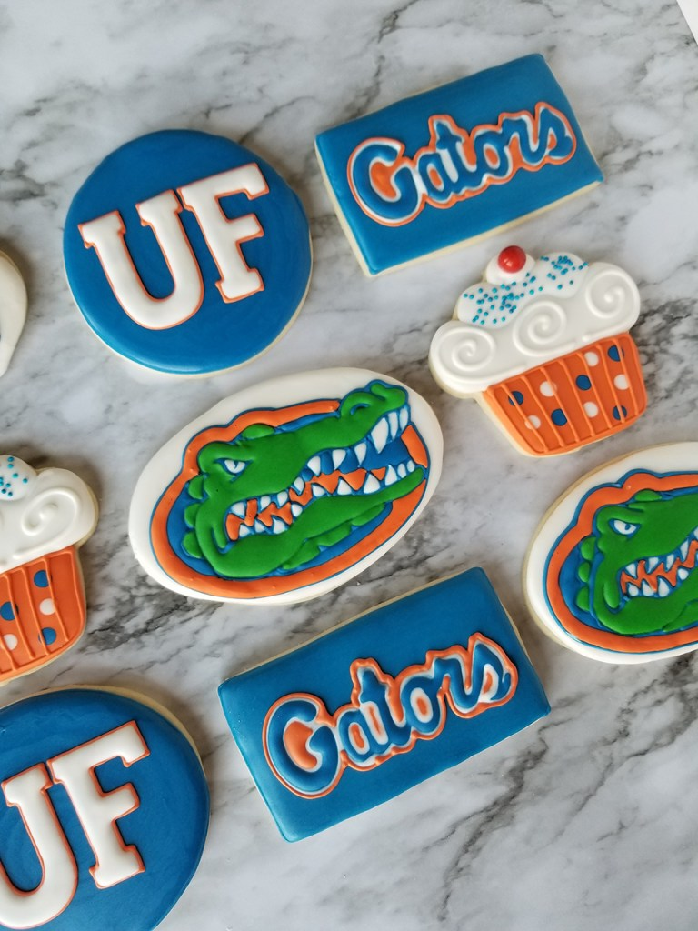Gators college team decorated sugar cookies for sports fans