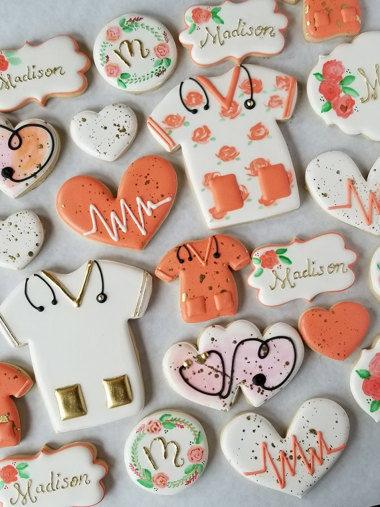 Graduation from med school or nursing school custom decorated sugar cookies