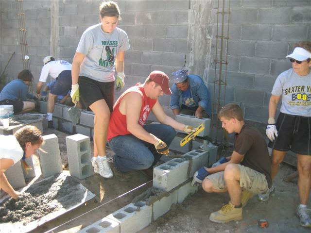 A team working to build a house in Mexico