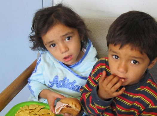 Children enjoy a meal at the nutrition program in Reynosa