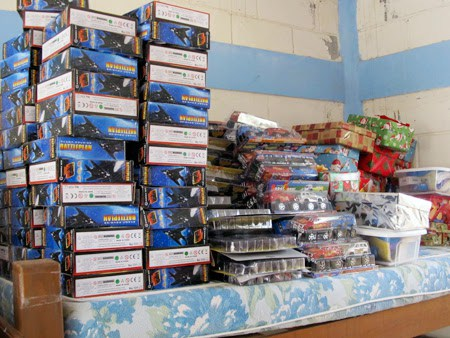 Toys ready to be distributed at the Christmas fiestas