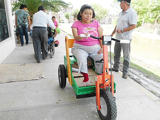A recipient of a wheelchair in Reynosa