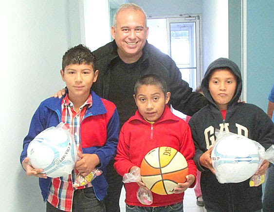 David with some young boys who just received soccer balls at our Christmas fiestas in Mexico