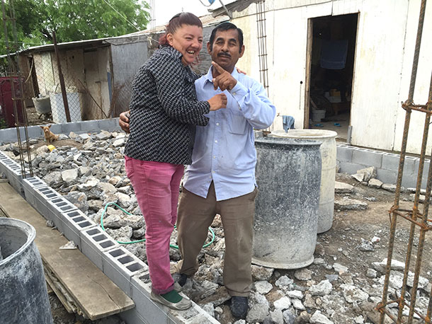 Elizabeth and Pablo before their house is built in Reynosa
