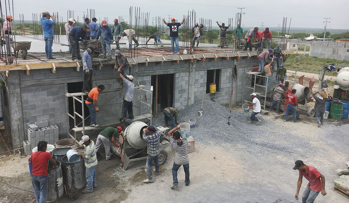 Pouring the roof of the community center in Miguel Aleman