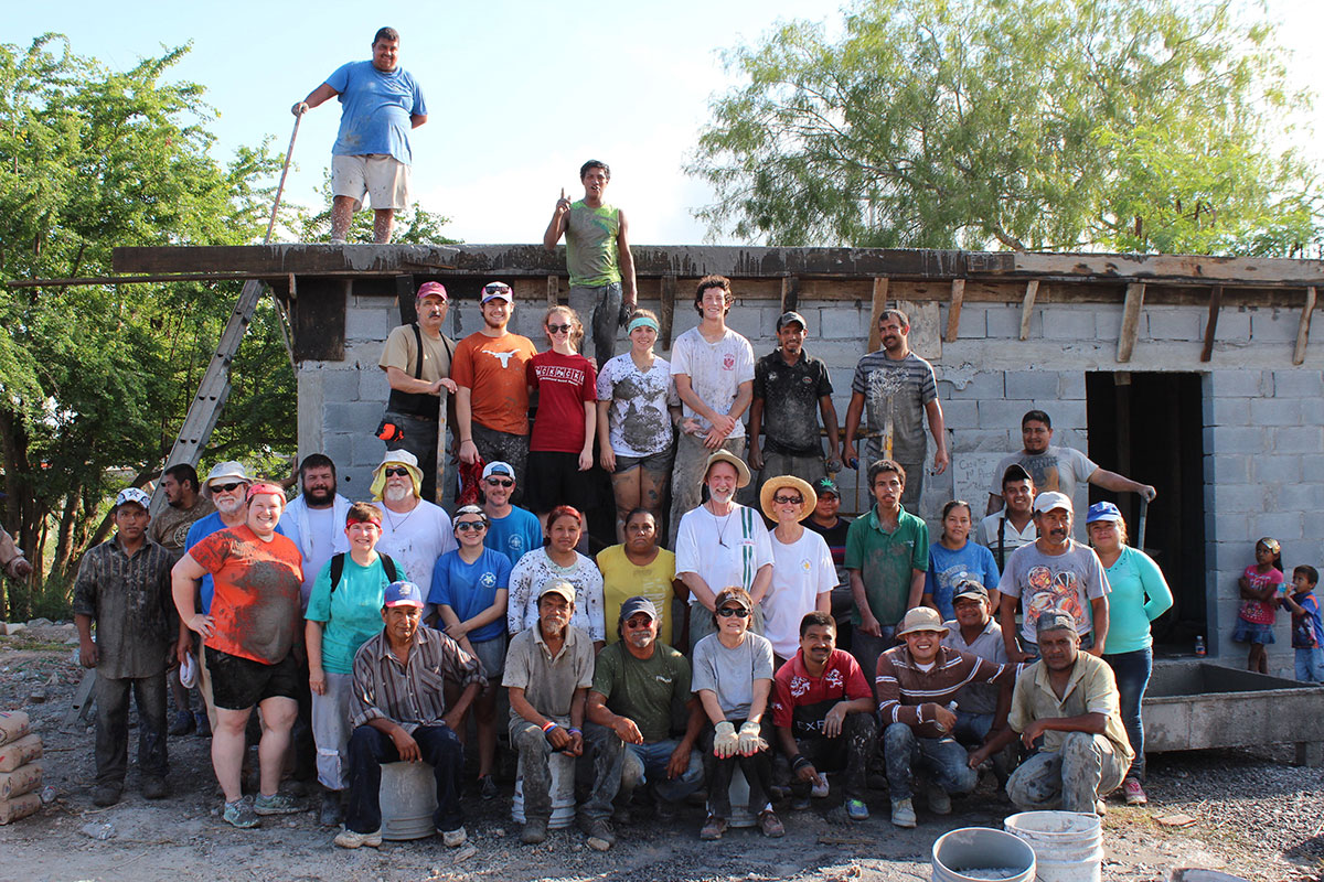 A team with the staff and volunteers in Reynosa after a roof pour