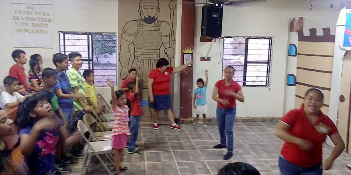 Performing a skit at VBS in Naranjito