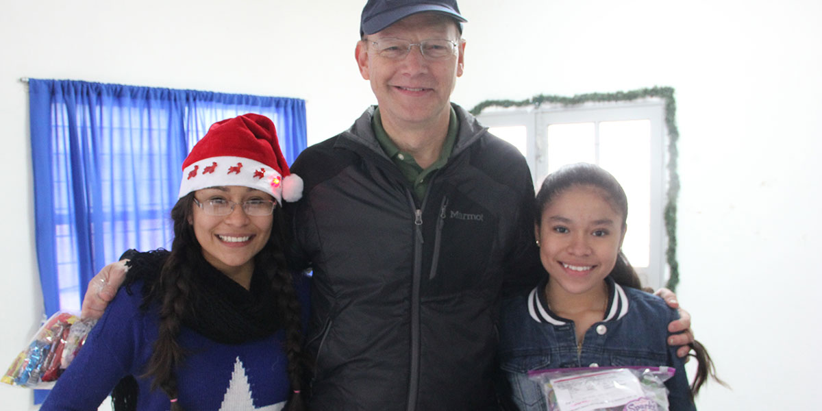 Priscila (left), who will be leaving soon to train with Mexico's national track and field team in Mexico City, pictured here with her sister and our friend Ken from North Carolina