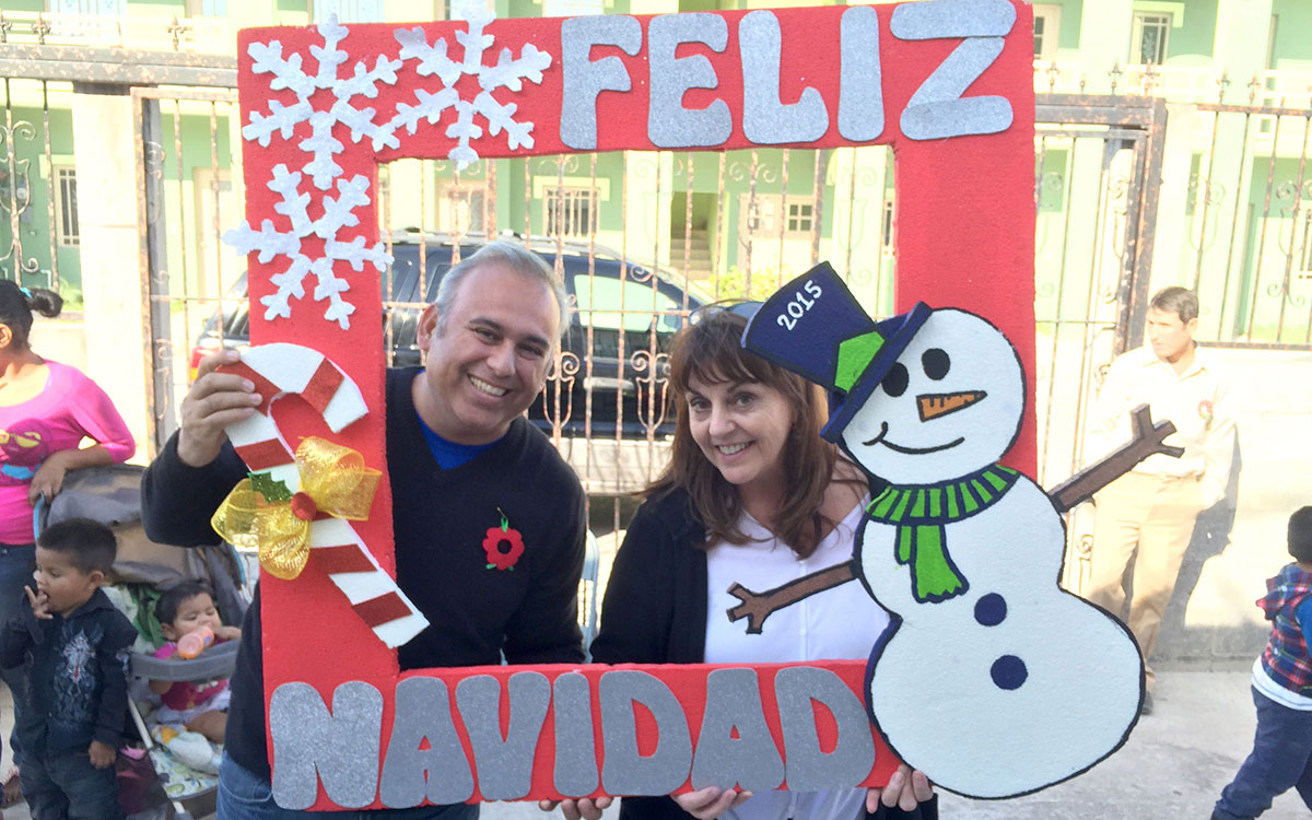 David and Board president Kathy at a Christmas fiesta in Miguel Aleman