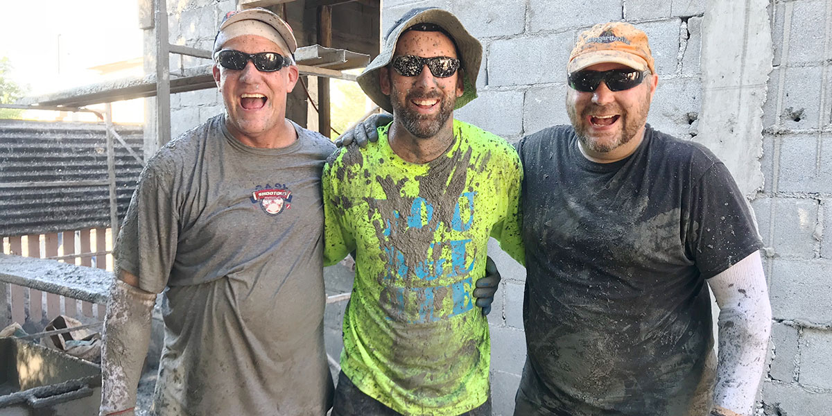 Friends from a team after a roof pour in Reynosa