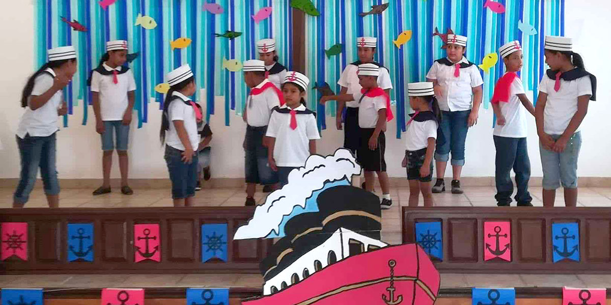 Kids performing at Vacation Bible School in Miguel Aleman