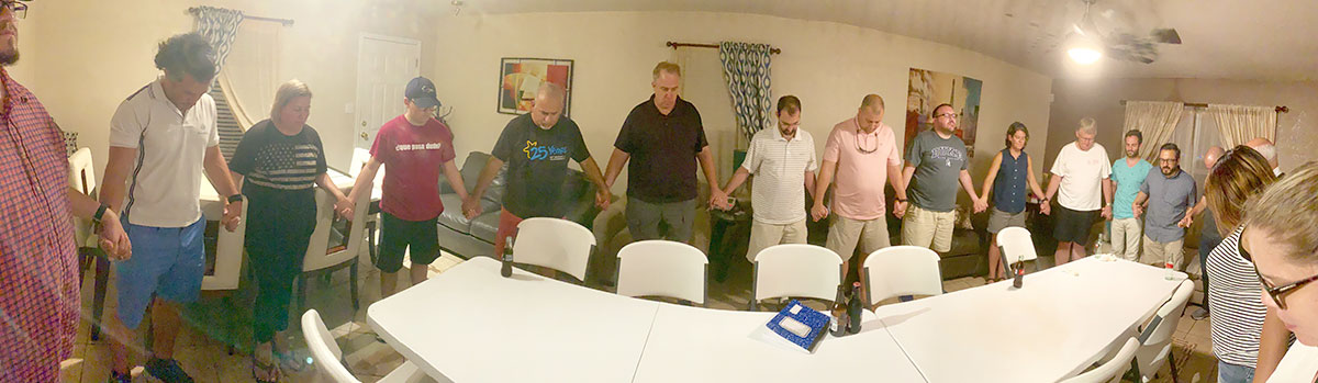 Praying together with friends from North Carolina